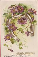 Bloem Fleur Flower Heureux Anniversaire Hoefijzer Gaufrée Doree Embossed Relief Fantaisie Fantasiekaart Fantasie - Blumen