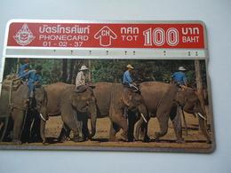 THAILAND USED CARDS OLD MAGNETIC ELEPHANT ANIMALS - Thaïlande