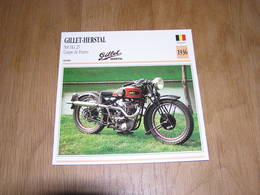 GILLET Herstal 500 HG 25 Coupe De France 1936 Belgique Moto Fiche Descriptive Motocyclette Motos - Sammelkarten, Lernkarten
