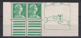 MARIANNE DE MULLER N° 1010 1955-59 En PAIRE HORIZONTALE DE CARNET Neuf ** SANS CHARNIÈRE NI TRACE - LUXE - 1955- Marianne De Muller