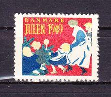 Vignette Julmarke, Daenemark, Kinder Mit Frau 1949 (59565) - Cinderellas