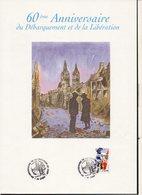 Caen 2004 Pochette,gravure & Guide Exposition Philatélique / 1er Jour Timbre 60° Anniversaire Débarquement De Normandie - Guerre Mondiale (Seconde)