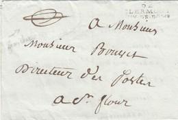 LETTRE. 21 JUIN 1808. 62/CLERMONT/PUY-DE-DOME  EN FRANCHISE POUR ST FLOUR/ 4 - 1801-1848: Précurseurs XIX