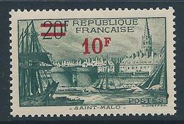 FRANCE 1940-41 - YT N°492 - 10 F. Sur 20 F. Vert Foncé - Neuf** - TTB Etat - France