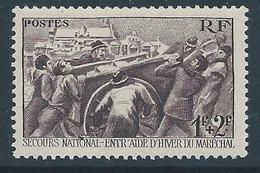 FRANCE 1941 - YT N°497 - 1 F. + 2 F. Brun-violet - Au Profit Du Secours National - Neuf** - TTB Etat - France