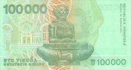 CROATIA 100000 Dinara 1993  P-27 **UNC** - Croatia