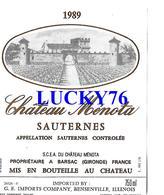 Etiquette Chateau Menota 1989 Sauterne - Bordeaux