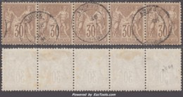 *RARE* Bande De Cinq Du 30c Sage Brun Au Type I (N/B) Oblitéré TB (Dallay N° 69, Cote +++€) - 1876-1878 Sage (Type I)