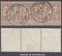 Bande De Trois Du 30c Sage Brun Au Type I (N/B) Oblitéré TB (Dallay N° 69, Cote 55€) - 1876-1878 Sage (Type I)