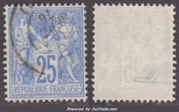 25c Sage Outremer Vif Type I (N/B) Oblitéré TB Et Signé (Y&T N° 68b, Cote 95€) - 1876-1878 Sage (Type I)