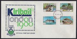 Ca0137  KIRIBATI 1980,  SG 112-5  'London 80' Stamp Exhibition, Boat, Plane, FDC - Kiribati (1979-...)