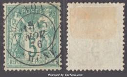 5c Sage Vert Au Type I (N/B) Oblitéré TB Et Bien Centré (Y&T N° 64, Cote  +90€) - 1876-1878 Sage (Typ I)