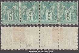*RARE* Bande De Quatre Du 5c Sage Type I (N/B) TB Et Signé ROUMET  (Y&T N° 64, Cote  +++€) - 1876-1878 Sage (Type I)