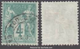 4c Sage Vert Type I (N/B) Oblitéré TB (Y&T N° 63, Cote  +100€) - 1876-1878 Sage (Type I)