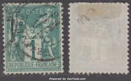 1c Sage Vert Foncé Type I (N/B) Oblitéré TB Et Bien Centré (Y&T N° 61, Cote  +180€) - 1876-1878 Sage (Type I)