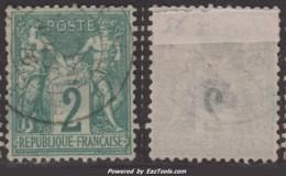 *RARE* 2c Sage Type I (N/B) Aspect TB Et SUPER CENTRAGE (Y&T N° 62, Cote  +510€€) - 1876-1878 Sage (Type I)