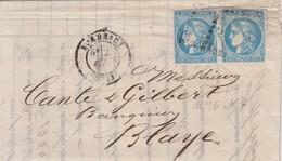 LETTRE. 21 MAI 1871. BANQUE LETANNEUR BORDEAUX POUR BLAYE. PAIRE N° 46. 2° ECHELON / 4 - 1849-1876: Klassik
