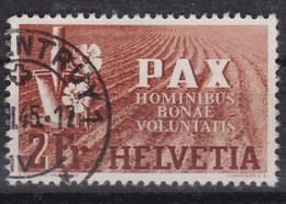 SUISSE 1945:   Le 2 Fr. De La Série 'PAX', Oblitéré, Forte Cote - Schweiz
