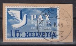 SUISSE 1945:   Le 1 Fr. De La Série 'PAX', Oblitéré Sur Fragment, Forte Cote - Schweiz