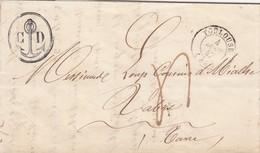 LETTRE. 4 JANV 1847. BEAU CACHET ANCRE C.D. TOULOUSE POUR VABRE. TAXE PLUME 4  /  4 - Postmark Collection (Covers)