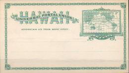 HAWAII 1894. Unused Entire Card Of Two Cents Planisphere , 131½ X 72½ Mm - Hawaii