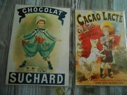 2 Repro  Cartonnées Et Plastifiées  PUBLICITE  CHOCOLAT /CACAO LACTE De C. Gravier - CHOCOLAT  SUCHARD - Non Classés