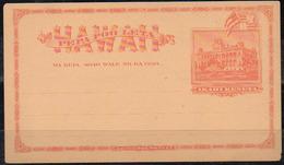 HAWAII 1894. Unused Entire Card Of One Cent Akahi Keneta, 131½ X 72½ Mm - Hawaii