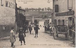 CPA Monistrol-sur-Loire - Quartier De Brunelles (très Belle Scène Devant Café Restaurant Largeron) - Monistrol Sur Loire