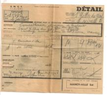 1948 RECEPISSE TRANSPORT SNCF DE NANCY VILLE EST A ST GILLES DU GARD         B467 - Railway