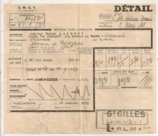 1952 RECEPISSE TRANSPORT SNCF  DE  ST GILLES DU GARD PLM A L'ISLE ADAM SEINE ET OISE         B469 - Railway