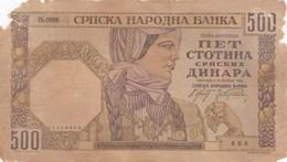 Yougoslavie - Billet De 500 Dinara - 1941 - Yugoslavia