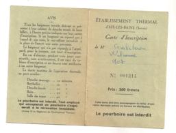 1953 CARTE INSCRIPTION ETABLISSEMENT THERMAL AIX LES BAINS          B470 - Documents Historiques