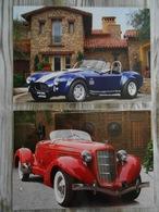 2 Grandes Repro Cartonnées Et Plastifiées : Automobile AC COBRA BLUE 1966 + AUBURN BOATTAIL SPEEDSTER RED 1935 - Automobiles