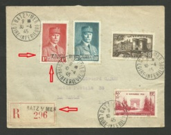 """Lettre """" ILOT ST NAZAIRE """" / BATZ SUR MER 30.04.1945 Pour LA BAULE / Pétain Avec Surcharge """" Taxe Perçue """" - 1921-1960: Modern Period"""