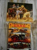 2 Repro  Cartonnées Et Plastifiées  -PUB / Tracteurs CASE  A Pétrole Ou A Essence + Cheval Avec Agriculteurs Aux Foins - Métiers