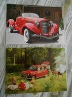 2 Grandes Repro Cartonnées Et Plastifiées : AUBURN BOATTAIL SPEEDSTER RED 1935  + RENAULT 4L Rouge - Automobiles