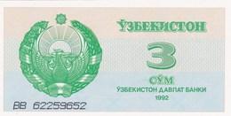 Ouzbékistan - Billet De 3 Sum - 1992 - Neuf - Ouzbékistan