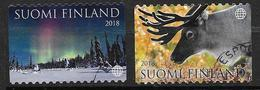 Finlande 2018 Timbres Oblitérés Enchantement De La Laponie. Renne Et Aurore Boréale - Finland