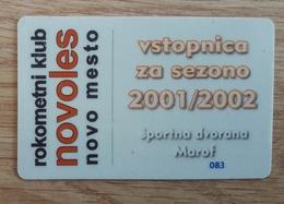 Season Ticket Handball Club Novoles Novo Mesto Slovenia 2001/2002 Plastic Card - Match Tickets