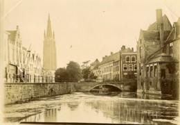 Belgique Bruges Brugge Canal Eglise Et Pont Ancienne Photo 1900 - Places