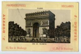 France Paris Arc De Triomphe Chromo Publicitaire Photographe J Duffit 1890 - Old Paper