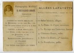 France Toulouse Chromo Publicitaire Calendrier Miniature Portrait Photographe Massip 1885 - Old Paper