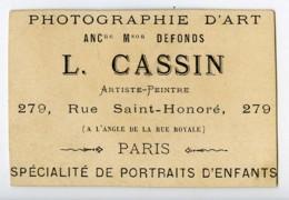 France Paris Chromo Publicitaire Portraits D'Enfants Photographe Cassin 1890 - Old Paper