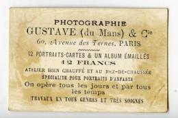 France Paris Le Mans Chromo Publicitaire Photographe Gustave 1890 - Old Paper