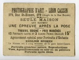 France Paris Chromo Publicitaire Photographe Leon Cassin 1890 - Old Paper