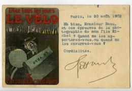 France Paris Carte Postale Le Velo Postale Photographe Jules Beau 1902 - Illustrateurs & Photographes