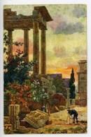 Italie Rome Temple De Saturne Carte Postale Photographe Dans Les Ruines 1900 - Illustrators & Photographers