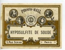 France Etiquette Hyposulfite De Soude Produits Photographique Photo Hall 1880 - Unclassified