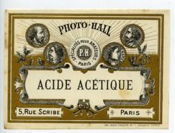 France Etiquette Acide Acetique Produits Photographique Photo Hall 1880 - Old Paper