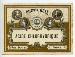 France Etiquette Acide Chlorhydrique Produits Photographique Photo Hall 1880 - Unclassified